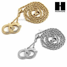 """MENS HIP HOP FASHION ICED OUT HANDCUFFS CZ PENDANT 24"""" ROPE CHAIN NECKLACE N26"""