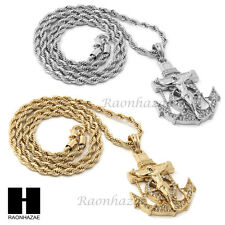 """MENS HIP HOP ICED OUT ANCHOR JESUS CZ PENDANT 24"""" ROPE CHAIN NECKLACE N033"""