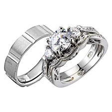 His and Hers Wedding Rings 3 pcs Engagement CZ Sterling Silver Titanium Set CK