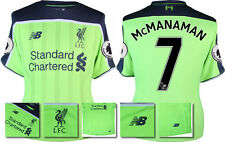 *16 / 17 - NEW BALANCE ; LIVERPOOL 3RD SHIRT + PATCHES SS / McMANAMAN 7 = SIZE*