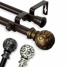 "*Double Curtain Rod* 3/4"" OD #17 choose from 3 colors, 28""-170"""