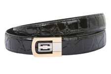 Clamp On One Size Fits All Feather Edged Croco Print Patent Faux Leather Belt