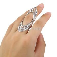 Punk Crystal Rhimestone Hollow Knuckle Midi Mid Finger Tip Stacking Retro Ring