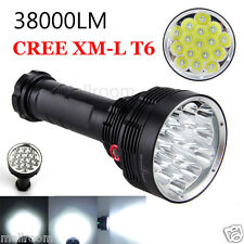 38000LM 16x XM-L T6 LED Flashlight 3Modi Torch Light Lamp Waterproof Фонарик