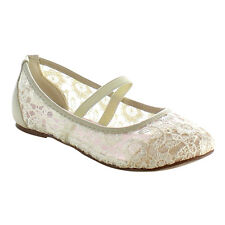 DOTTY BA56 Children Girls Round Toe Mary Jane Breathable Lace Ballet Flats