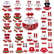 4Pcs Christmas Infant Baby Girl Santa Romper Tutu Dress Outfit Shoes Set Costume