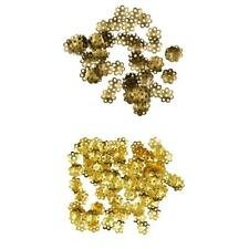 100PCS GOLD BRONZE FLOWER SPACER BEAD END CAPS FIT BEADS JEWELRY FINDINGS 8mm