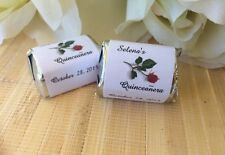 Personalized Quinceanera Candy Wrappers with red rose