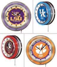 """Choose Your NCAA College Team 19"""" Round Chrome Double Neon Ring Wall Clock"""