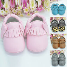 0-18M Baby Tassel Leather Soft Sole Shoes Infant Toddler Crib Moccasin Boy Girl