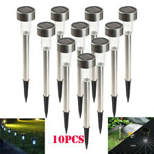 5/10Pcs Outdoor Garden Stainless Steel LED Solar Landscape Path Lights Yard Lamp