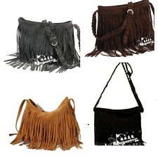 Tassel Celebrity Suede Fringe Handbag Shoulder Messenger Cross Body Bag Purse