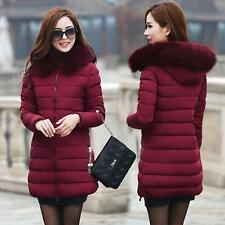 Fashion Winter Women Down Cotton Parka Long Fur Collar Hooded Coat Jacket New @@