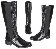 NEW LADIES WOMENS KNEE HIGH CROC FAUX LEATHER RIDER BOOTS SHOES SIZE 3-8