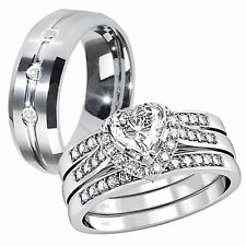 Hers Solid Sterling Silver His CZ Stainless Steel Bridal Wedding Rings Band Set