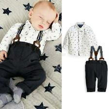 2PCS Kids Baby Boys T-shirt Tops + Bib Pants Overalls Clothes Outfits Set 12-18