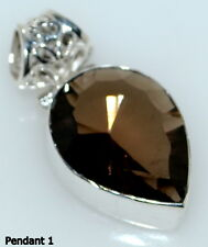 925 Sterling Silver Smoky Quartz Topaz Pendant Solitaire Gemstone Jewelry Unique
