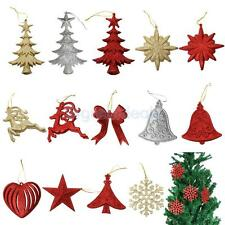 10pcs Christmas Tree Pendant Bowknot Snowflake Bell Star Decorations Ornaments