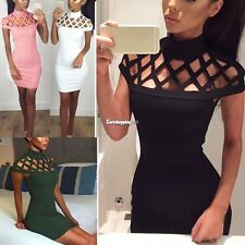 Womens Choker High Neck Bodycon Ladies Caged Sleeves Mini Dress US Size 4-12 ES9