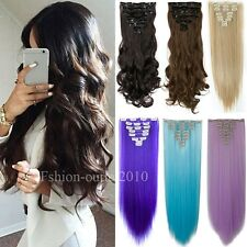 8PCS 100% Real Deluxe Full Head Clip In Hair Extensions US For Human Hair f21