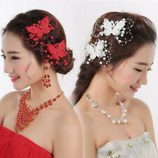 1Pcs Fashion Bridal Butterfly Imitation Pearl Hairpin Wedding Hair Clip Decor