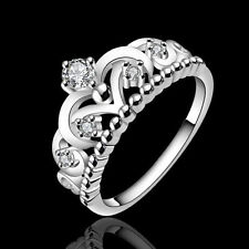 HOT Women 925 Silver Plated Pretty Crown Lady Crystal Ring Princess Ring