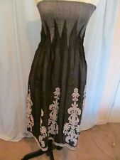 Lapis Black Gray One Size Strapless Rayon Dress Converts to Skirt Boho