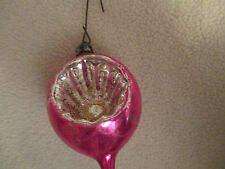 VINTAGE POLISH GLASS INDENTED  CHRISTMAS ORNAMENT EGG SHAPED FUCHSIA & SILVER