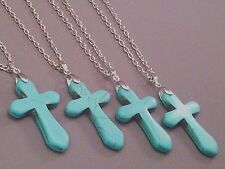 Christian Pendant Necklace TURQUOISE Finish Cross Silver Tone Chain LOW STOCK!