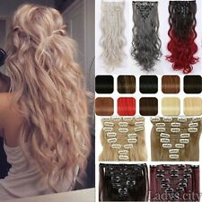 Real Thick CLIP IN HAIR EXTENTIONS FULL HEAD Gray Brown Blonde human favored TH3