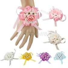 Beautiful Wedding Hand Wrist Flowers Fabric Corsage Bracelet Bridesmaid Sisters