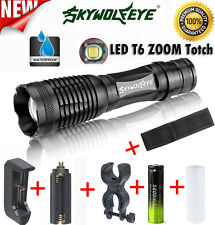 Tactical Flashlight Zoomable 5 Modes CREE XM-L T6 LED Torch Lamp+Battery+Charger