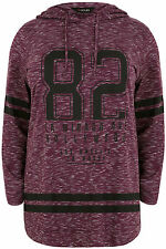 Yoursclothing Plus Size Womens Burgundy Varsity Print Hooded Sweat Top