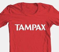 Tampax T-shirt retro brands novelty funny 100% red cotton graphic tee