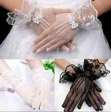 1 pair Lace Short Bridal Full Gloves Sexy Formal Wedding Evening Party Pageant