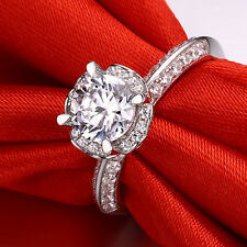 1ct Created Diamond Engagement Ring Women 925 Sterling Silver Red Ruby Decor