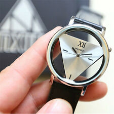 #Fashion Leather Band Stainless Steel Sport Analog Quartz Women Mens Wrist Watch