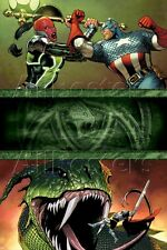 Marvel Fear Itself No.7 Cover: Red Skull and Captain America Fighting Poster