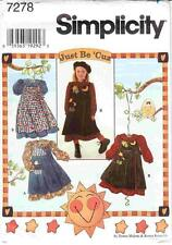 Simplicity 7278 Sewing Pattern Uncut Girls Just Be 'Cuz Dress & Pinafore