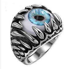 Vintage Mens Ring Titanium Steel Stainless Steel Horrible Eye Ball Ring Blue V
