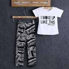 Fashion 1Set Baby Kids Girls Casual Short Sleeve T-Shirts Tops & Pants Outfit