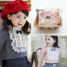 Lovely Kids Baby Girls Long Sleeve Princess Lace Bowknot Ruffle Blouse Tops 1-8T