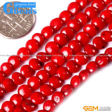 """6mm Coin Gemstone Coral Stone Beads For Jewelry Making Free Shipping 15"""" Strand"""
