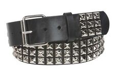 Snap On Three Row Punk Rock Star Metal Silver Studded Solid Leather Belt