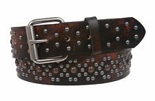 Snap On Oil Tanned Metal Circle Studded Vintage Genuine Leather Belt