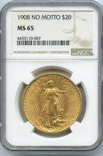1908 No Motto $20 St Gaudens Gold Coin NGC MS 65 Superb