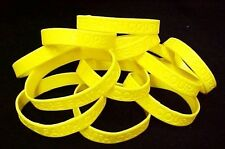 "Yellow Awareness Bracelets 50 Piece Lot Silicone Wristband Cancer Cause 8"" New"