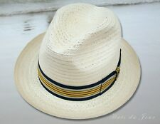 Biltmore Natural Palmyra Fedora Dress Straw Hat with Stripped Band-Small