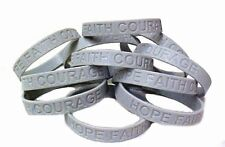 Gray Awareness Bracelets Lot of 50 Silicone Wristband Cancer Cause IMPERFECT New