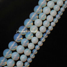 White Opal Round Natural Gemstone Loose Spacer Beads Finding Craft 4/6/8/10/12mm